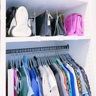We can all agree on the star of the show here... it's the clear shelf dividers right?! 😂 Ok maybe that's just us!   Of course the goal here was to create a functional space for our client's beautiful purse collection. The shelf dividers keep the purses organized and prevent them from falling over on each other. Using clear dividers allows everything to be easily seen and creates a perfectly streamlined look 😍