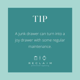 If you have a junk drawer (we all have something like this), take some time to get rid of well...all the junk that's accumulated in there! 🤪  Keep it filled with things you need quick and easy access to all the time (scissors, tape, extra pens, post-its, etc.) ✏️