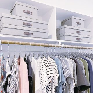 We often use high shelves in closets to store items that are not often used. Storing these items in bins and boxes keeps this space clutter free 💯