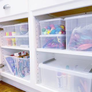 """These cabinets in our client's laundry room were the perfect location for arts & crafts storage 🎨  For items like this where its important to keep them contained, accessible, but out of sight - it's great to think beyond the playroom, especially when space is at a premium 🤔  Do you have spaces in your home that are empty while other closets or cabinets are stuffed? Moving items to a room they don't necessarily """"belong in"""" can be a game changer 🔄  Although... arts & crafts and laundry do tend to go together 😂  """